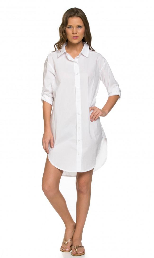Basics Oversized Shirt Dress in Solid White (Plus Sizes Only)