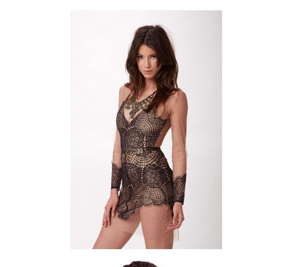 mesh dress lace dress nude dress see through dress bodycon black nude brunette eyelash lace sexy dress