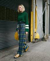 pants,wide-leg pants,high waisted pants,plaid,belt,flat sandals,handbag,jumper
