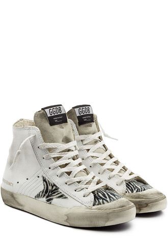 high sneakers leather animal shoes