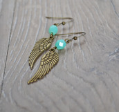 jewels,angel wings,earrings,mint,aqua,wings,angel,jewelry,etsy,christmas