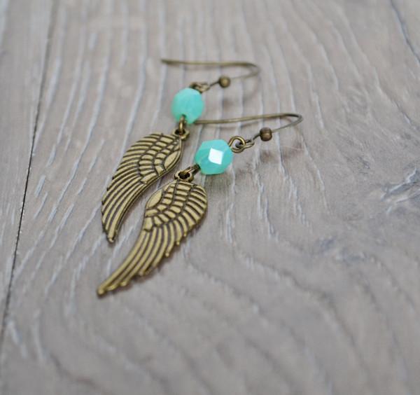jewels angel wings earrings mint aqua wings angel jewelry etsy christmas