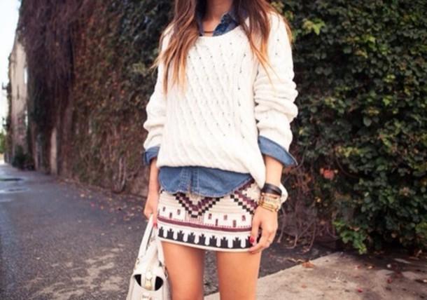 sweater shirt skirt