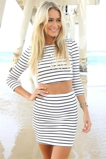 skirt stripes crop tops summer