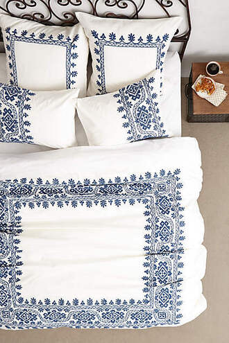 home accessory bedding boho embroidered navy