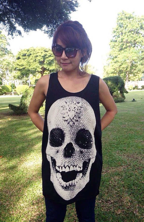 Skeleton bone diamond tank top art design death goth gothic shirt black t