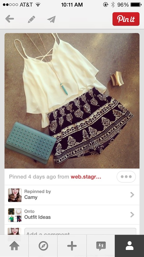 shorts shirt jewels