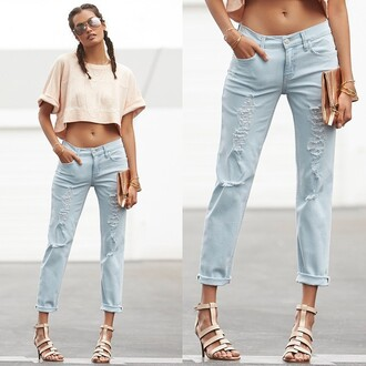 jeans level99 revolve clothing revolve revolveme light blue jeans cropped sweater braid ripped jeans spring outfits nude dope light blue boyfriend jeans