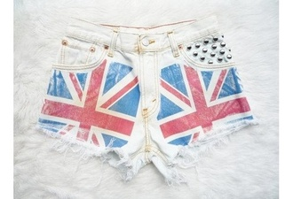 shorts dye cute painting weheartit denim shorts union jack rebel flag studded shorts white shorts