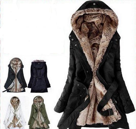 Fur Women Warm Winter Hooded Coat Jacket-Freeship Worldwide from