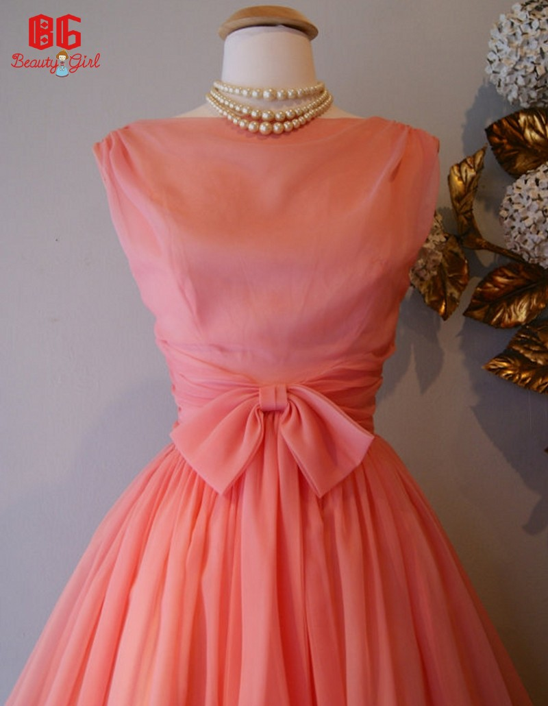 Coral colored knee length bridesmaid dresses a line short for Coral bridesmaid dresses for beach wedding