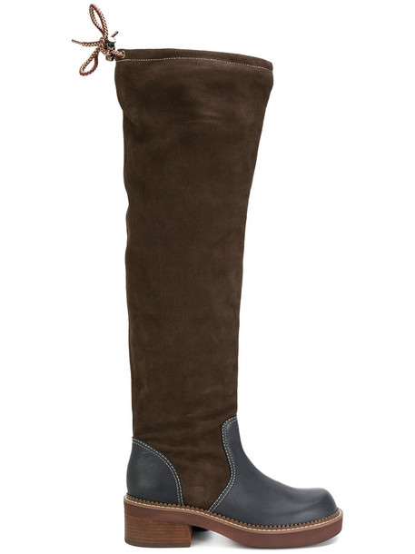 See by Chloe high women knee high knee high boots leather suede brown shoes