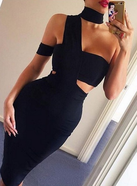 Asymmetrical Panel Midi Bandage Dress Black