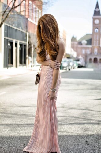 dress tumblr pink dress maxi dress long dress cocktail dress gown pleated pleated dress red hair bag mini bag
