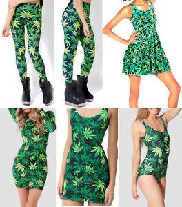 WOAH ROPA MUJER MARIHUANA BAÑADOR / DRESS LEGGINGS LEAF WEED BIKINI CANNABIS | eBay