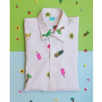 blouse cool chemise shirt palmtrees pineapple