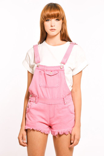 Chloe Denim Dungarees in Pink - Pop Couture