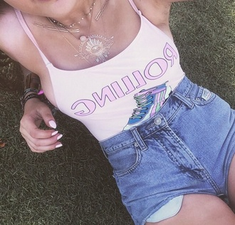 shirt coachella festival hippie boho graphic tee hipster bodysuit t-shirt tank top pink top shorts jewels