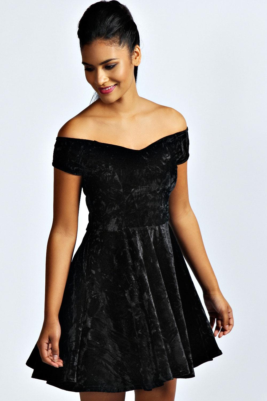 Black dress velvet - Niami Velvet Skater Dress