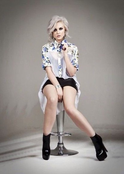 floral perrie edwards shirt black boots