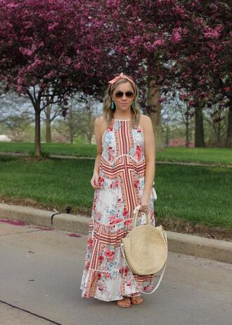 stylin in st. louis blogger dress shoes bag sunglasses round bag maxi dress spring outfits