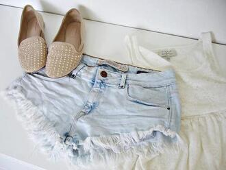 shoes shorts blouse beige studs cut off shorts flats studded