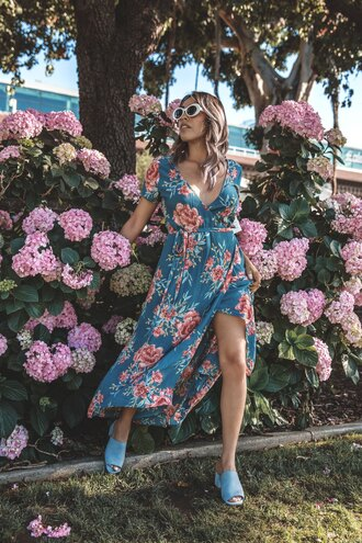 dress white sunglasses tumblr slit dress maxi dress floral maxi dress floral floral dress mules sunglasses summer dress