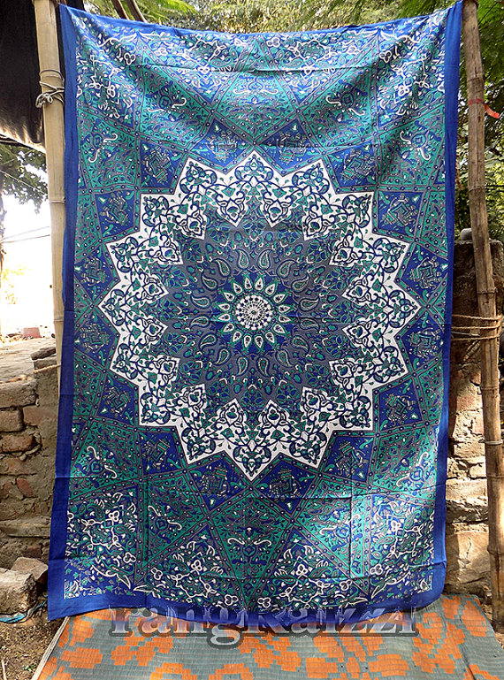 Boho Wall Hanging indian cotton psychedelic star mandala tapestry wall hanging