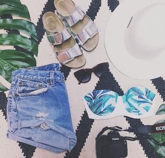 swimwear hologram white bikini cute sandals palm tree print tumblr outfit summer sandals style