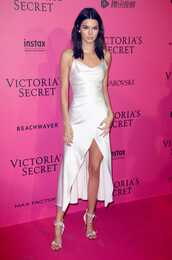 dress,sandals,model,kardashians,kendall jenner,white,white dress,victoria's secret,victoria's secret model,wrap dress