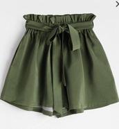 shorts,girly,girly wishlist,olive green,green,short,high waisted,High waisted shorts