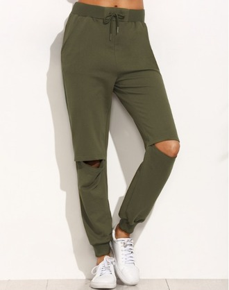pants girl girly girly wishlist joggers ripped knee olive green joggers pants sweatpants