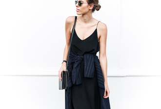 dress slip dress spaghetti straps dress spaghetti strap black dress summer dress coat blue coat striped coat bag black bag sunglasses