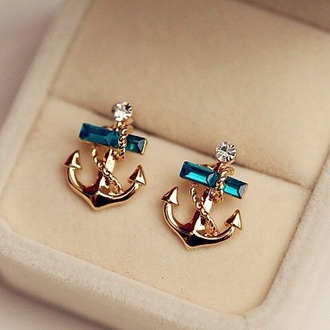 jewels anchor blue earings