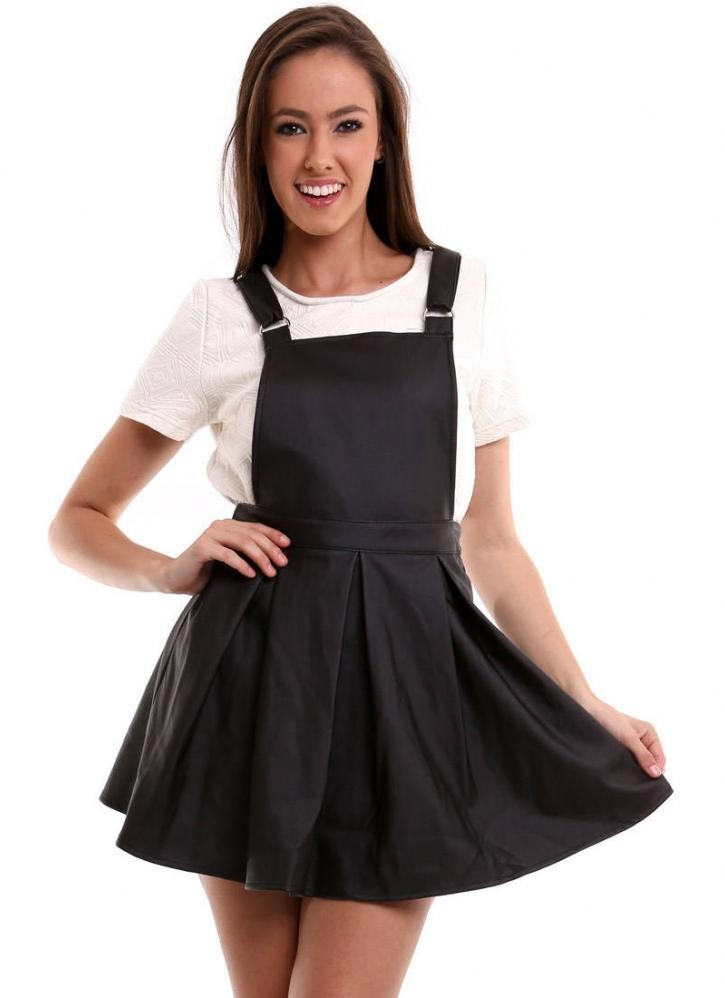 Leather Overall Skirt - Dress Ala