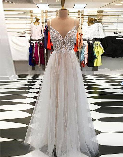 Champagne A line v neck tulle long prom dress, champagne evening dress - 24prom