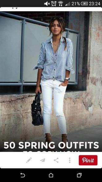 shirt stripy shirt blue and white classsy chic fashion