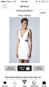 size6 white dress cutout bodycon tight creme