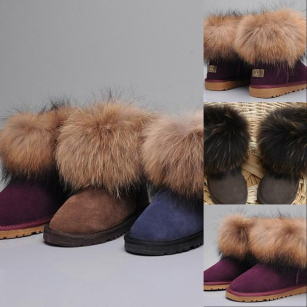 shoes, ugg boots, ugg boots, fur, fur trim, cute, purple, blue, black, winter outfits, boots, gold - Wheretoget