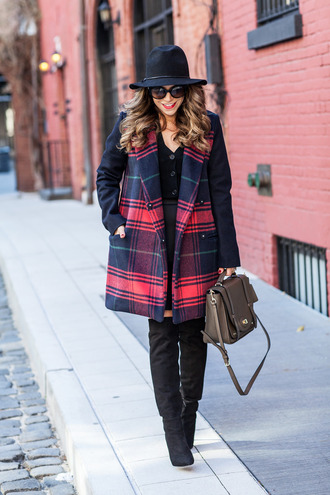 the corporate catwalk blogger tartan winter coat coat cardigan skirt shoes