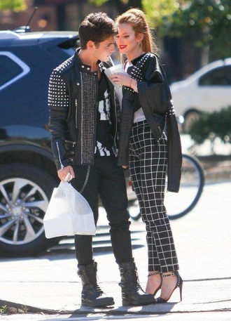 pants grunge black black and white bella thorne girly grid black jeans indie celebrity style celebrity edgy elegant