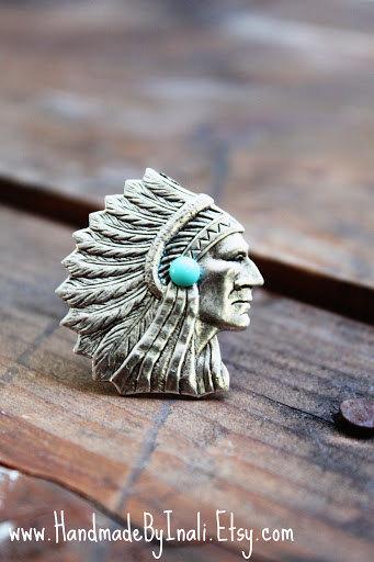 INDIAN CHEIF HEADcocktail adjustable ring matte by handmadebyinali