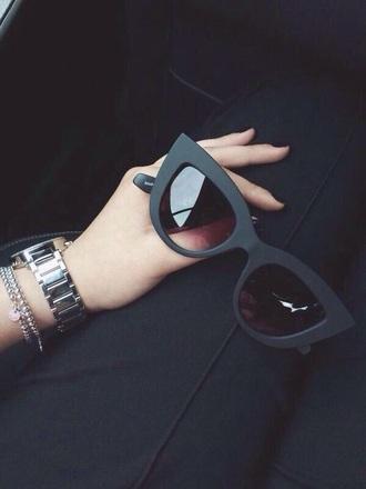sunglasses summer black big chunky cats