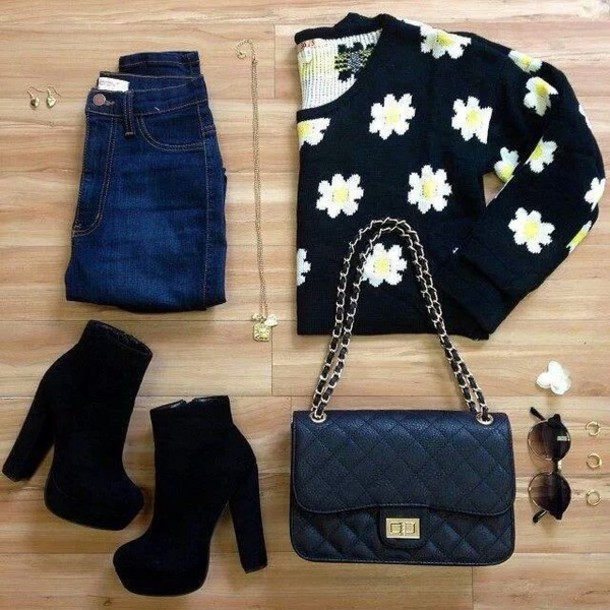shirt bag channel purse chanel inspired channel bag girly hipster skirt denim blue jeans summer spring floral daisy boogzel
