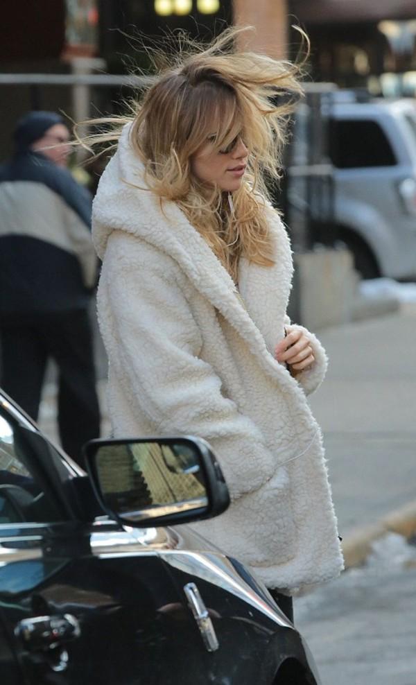 Maje | Girofard hooded faux shearling coat | NET-A-PORTER.COM