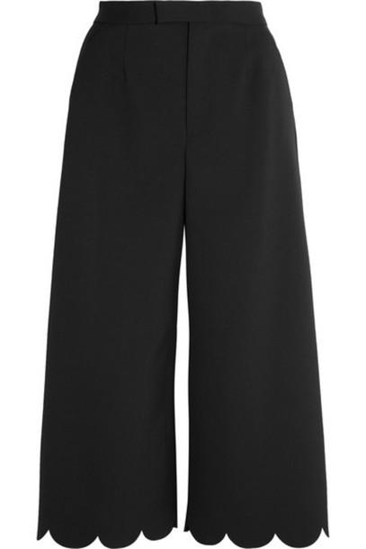 REDValentino - Cropped Scalloped Stretch-piqué Wide-leg Pants - Black