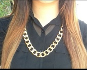 jewels,chunky necklace,gold chain,gold necklace,link chain necklace,thick chain,thick gold necklace,blouse