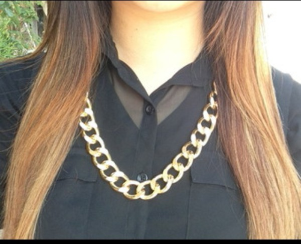 jewels chunky necklace gold chain gold necklace link chain necklace thick chain thick gold necklace blouse