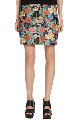 MULTI PRINTED LEATHER PELMET SKIRT