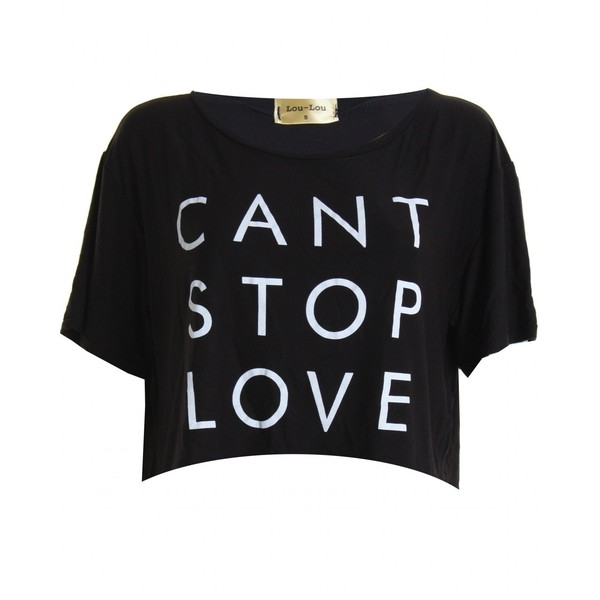 LOU LOU Black 'CAN'T STOP LOVE' Cropped Tee - Polyvore
